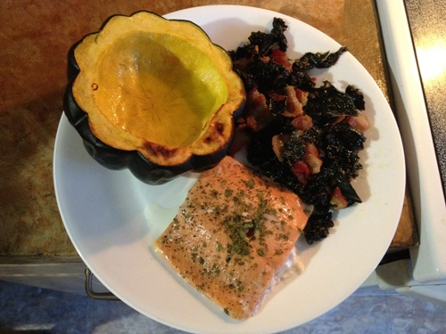SCD Paleo GAPS Lemon Salmon and Bacon Greens