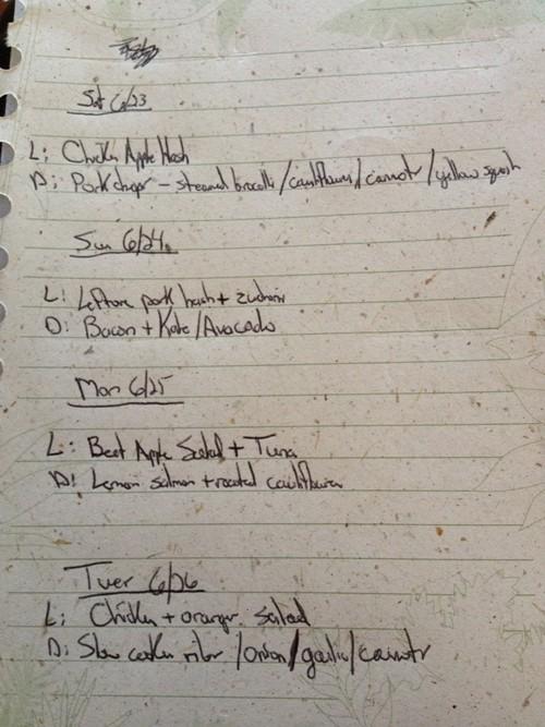 Paleo SCD 4-day menu for a family of four