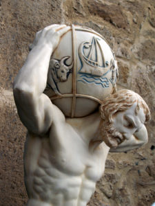 Pic of Atlas with weight of world on his shoulders