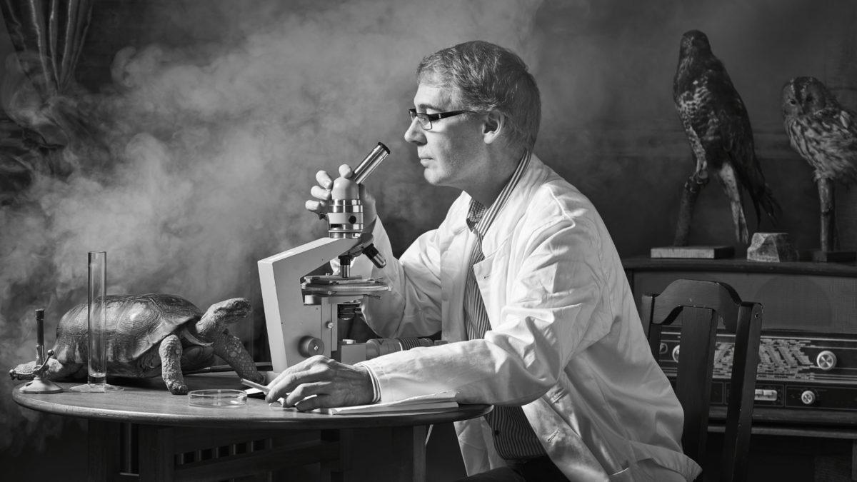 mad scientist lab black and white