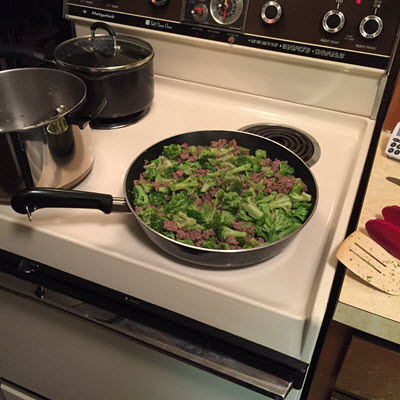 buffalo-and-broccoli-in-frying-pan
