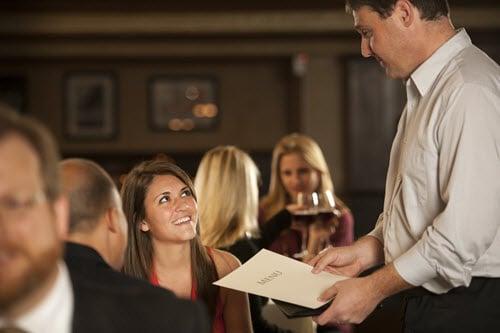 woman ordering at restaurant