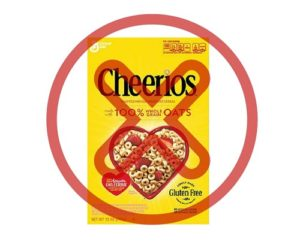 Gluten-free Cheerios crossed out