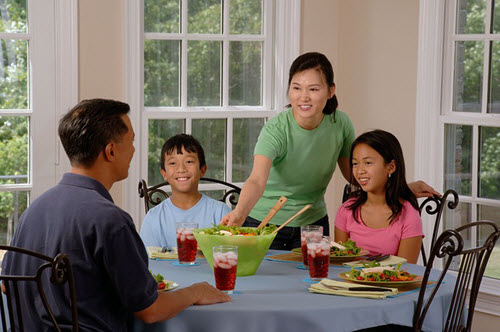 family at table