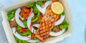 Meal with grilled salmon