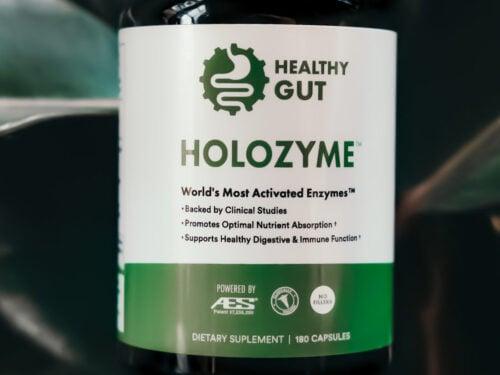 close up of holozyme bottle