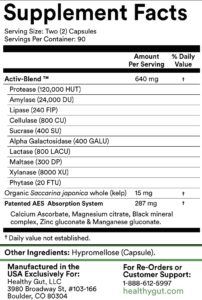 label ingredients for healthy gut holozyme